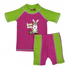 Baby Girl Pink and Lime Beach Bunny Swimwear Set